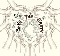 Hands Save The Earth Drawing Conceptual. Stock Illustration