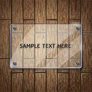 Wooden texture background and glass frame. vector illustrator Stock Illustration