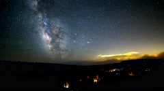 Milky way time lapse over people camping Stock Footage