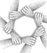 Hands Drawing Conceptual. Stock Illustration