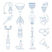 Lighting elements icon set. Thin line design Stock Illustration