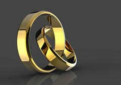 Closeup of Gold wedding bands with clipping path on a white background. Stock Illustration