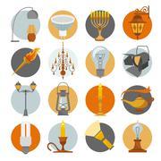 Lighting elements icon set Stock Illustration