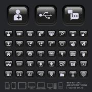 Blank buttons and Internet Icons for Web, Applications and Tablet Mobile. Stock Illustration