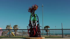 Metal monument  for aviation in Civitavecchia port Stock Footage