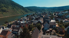 Aerial views of Moselle River in Germany Stock Footage