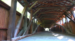 4K Old Vintage Covered Wooden Bridge Interior Construction Stock Footage
