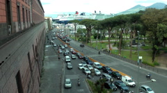 Road close to the port with cruise terminal on background Stock Footage