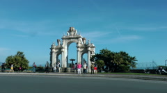 Arch on the waterfront close to Castel del Ovo Stock Footage