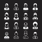 Business people avatar white icons on black background. Vector illustration Stock Illustration