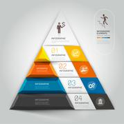 3d staircase diagram modern business steb options. Vector illustration. Stock Illustration