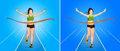 The winner vector in woman running Athletics game at finish line Stock Illustration