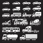 Cars icons white color set. Vector illustration. Stock Illustration