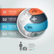 Abstract globe infographics travel transportation element template. Vector il Stock Illustration