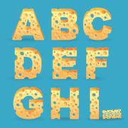 Cheese alphabet set. Vector illustration. More typeface style in my portfolio Stock Illustration