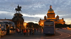 Time-lapse photography on Isaac Square in St. Petersburg Stock Footage