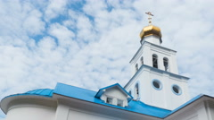 Church of Our Lady of the Inexhaustible Chalice , Samara.  Clouds flying thro Stock Footage