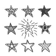 Collection of drawing stars.Doodle style. Stock Illustration