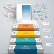 Business staircase doorway conceptual infographics. Vector illustration. Stock Illustration