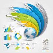 Airlines travel infographics. Vector illustration. Stock Illustration