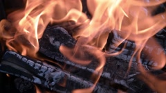Burning wood in a brazier Stock Footage