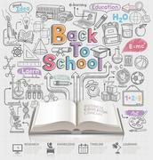 Back to school idea doodles icons and open book. Vector illustration. Stock Illustration