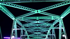 Famous pedestrian bridge over Cumberland River in Nashville Stock Footage