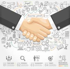 Business handshake Infographics option. Vector illustration. Stock Illustration