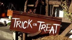 Trick and Treat sign in Bell Buckle Tennessee Stock Footage