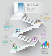 Business staircase thinking idea, Staircase doorway conceptual. Vector illust Stock Illustration