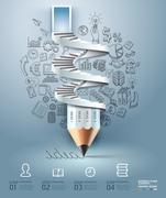 Business pencil staircase Infographics option. Vector illustration. Stock Illustration