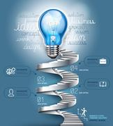 Business stair steps thinking solution Idea, lightbulb conceptual. Stock Illustration
