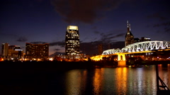 Beautiful skyline of Nashville Tennessee by night Arkistovideo