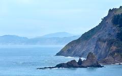 Atlantic Ocean coastline, Biscay Bay, Spain. Stock Photos