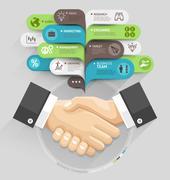 Business handshake and bubble speech template style. Vector illustration. Stock Illustration