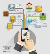 Business computer network. Business hand with mobile template. Stock Illustration
