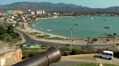 Panoramic view of Juan Griego bay, Margarita island Stock Footage