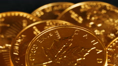 Macro 4K video of the word Canada on Canadian Maple Leaf gold coin Stock Footage