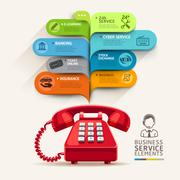 Business service icons and telephone with bubble speech template. Stock Illustration