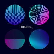 Modern circle design set with geometry designs Stock Illustration