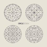 Circle symbol set in line art geometry style Stock Illustration