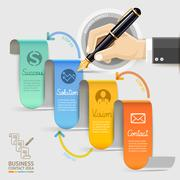 Business marketing contact. Businessman hand with pen. Vector illustration. Stock Illustration