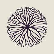 Concept tree branch circle shape illustration - stock illustration