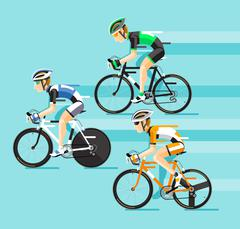 The Group of cyclists man in road bicycle racing. Vector illustrator. Stock Illustration