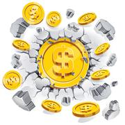 The gold dollar coin breaking through the concrete wall background. Stock Illustration