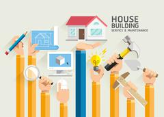 House Building Service and Maintenance. Vector Illustrations. Stock Illustration