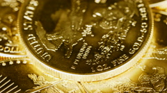 Macro 4K video of the words 1 Oz Fine Gold on US Mint coin Stock Footage