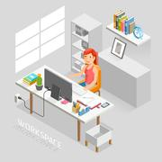Work Space Isometric Flat Style. Business People Working On An Office Desk. Stock Illustration