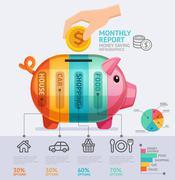 Money Saving Monthly Report Infographics Template. Vector Illustration. Stock Illustration