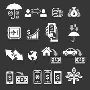 Business banking concept icons set. Vector illustrations. Piirros